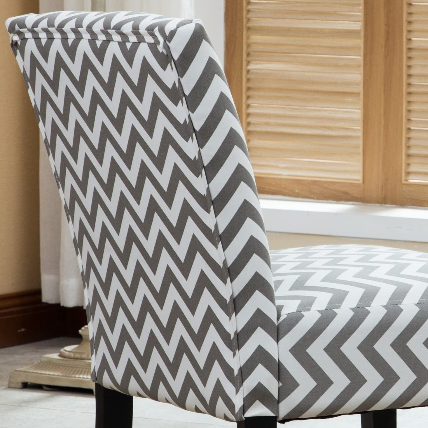 Roundhill Furniture Botticelli Grey Wave Print Fabric Armless Contemporary Accent Chair, Single: Kitchen & Dining