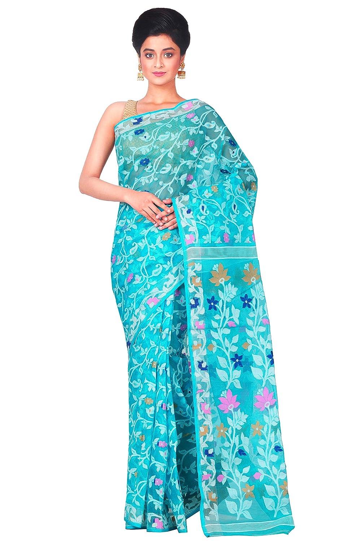 Blue Color Jamdani Cotton Blend Saree