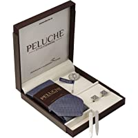 Peluche Voguish Gift Box Includes 1 Neck Tie, 1 Brooch, 1 Pair of Cufflinks & 1 Pair of Collar Stays for Men