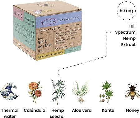 Beemine Crema Facial Hidratante con Aceite de Cáñamo, CBD 50 mg y Miel - Piel Sensible o Irritada - 40 ml (1.35 fl OZ.)