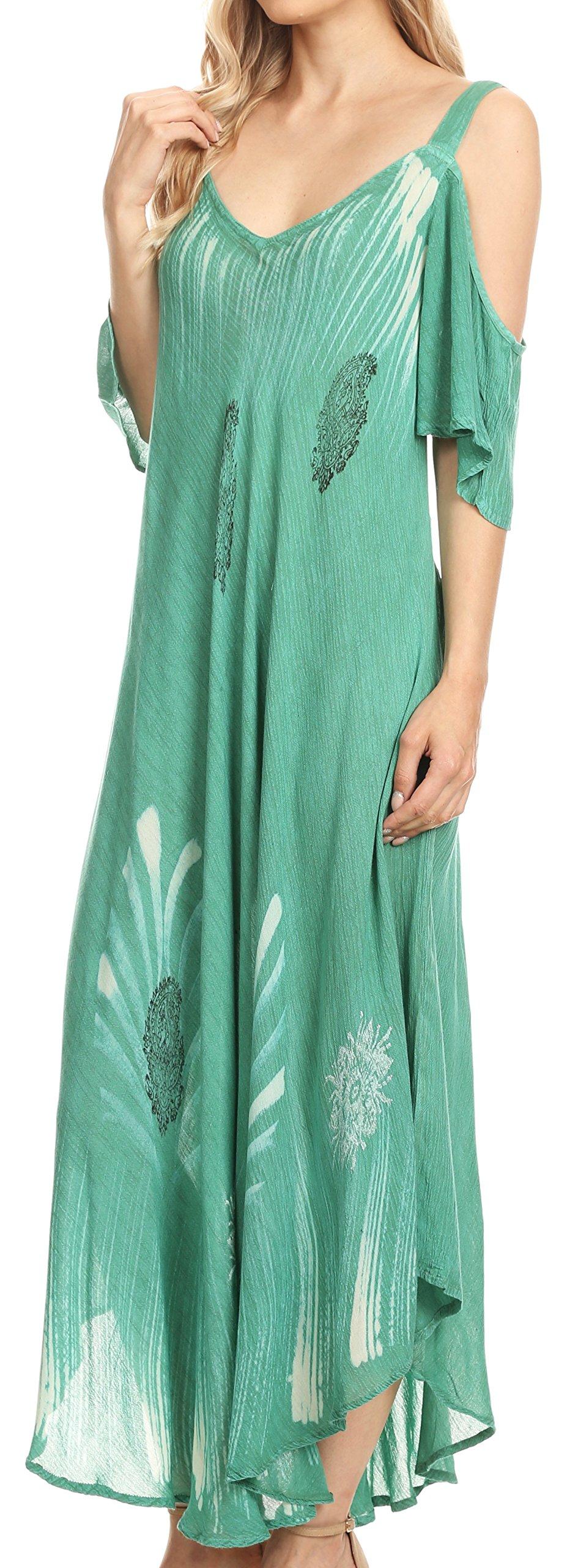 Sakkas 18155 - Renata Women's Cold Shoulder Maxi Caftan Dress Sundress Flare Stonewashed - Aqua - OS by Sakkas (Image #3)