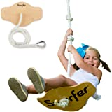 "Swurfer Swift - Maple Wood Disc Swing for Kids Ages 4 and Up, Holds up to 150 Pounds - Includes 18"" Curved Seat Swing with Heavy Duty Braided Rope"
