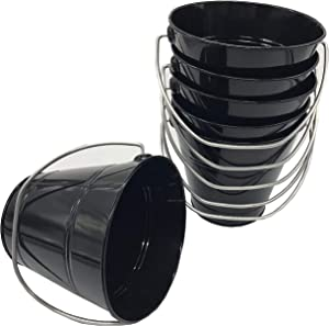 Italia 6-Pack Metal Bucket 1.5 Quart Color Black Size 5.6 X 6