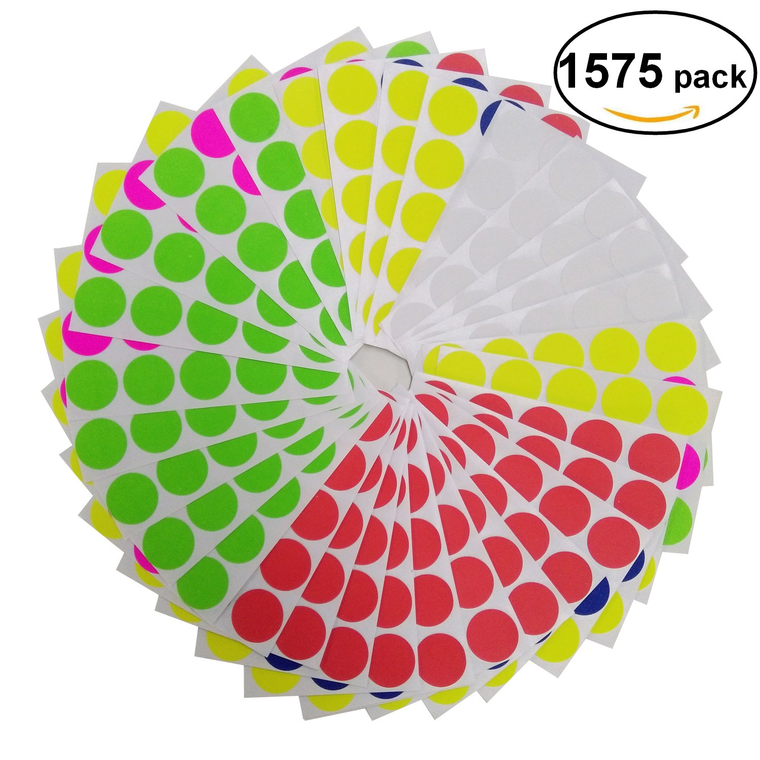 Brothersbox Round Write Color Coding Labels Neon Colors Dia 0.75 Inches Pack of 1575 Garage Sales Stickers