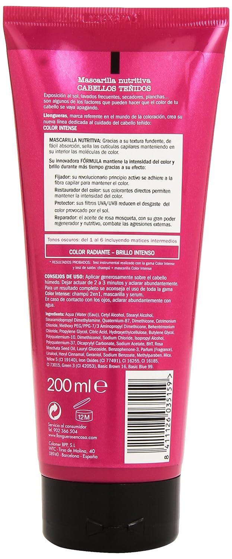 Llongueras - Color intense tonos del 1 al 6 - Mascarilla nutritiva con activador del color para cabellos teñidos - 200 ml: Amazon.es: Belleza