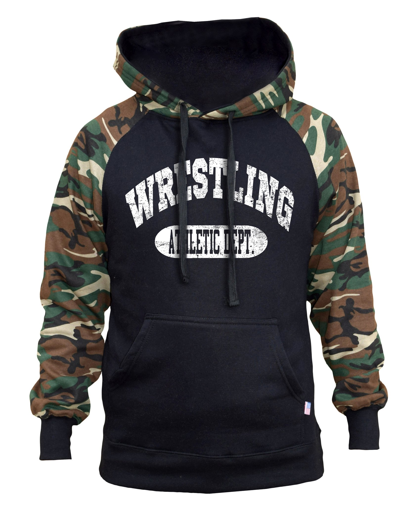 Interstate Apparel Men's Wrestling Athletic Dept. Black/Camo Raglan Baseball Hoodie Small Black