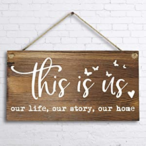 "6""x 12"" Rustic Solid Wood Home Decor Sign Wall Art Plaque -This is Us Our Life Our Story Our Home."