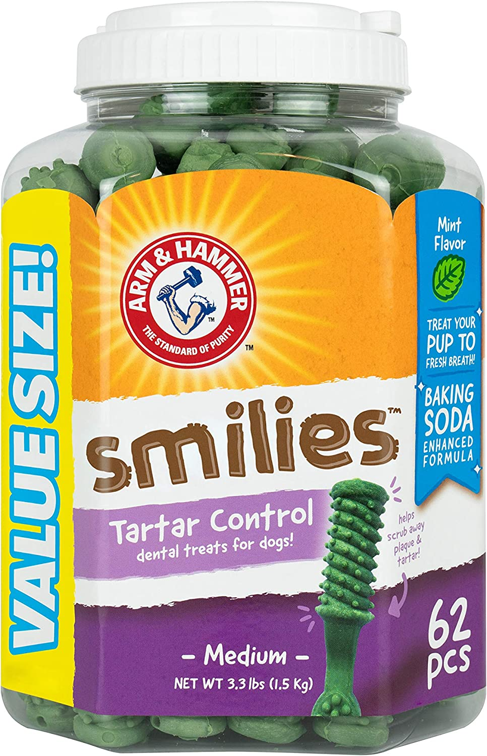 Arm & Hammer Smilies Tartar Control Dental Treats for Dogs, Value Pack, 62 Pieces | Dental Chews Fight Bad Breath, Plaque & Tartar Without Brushing