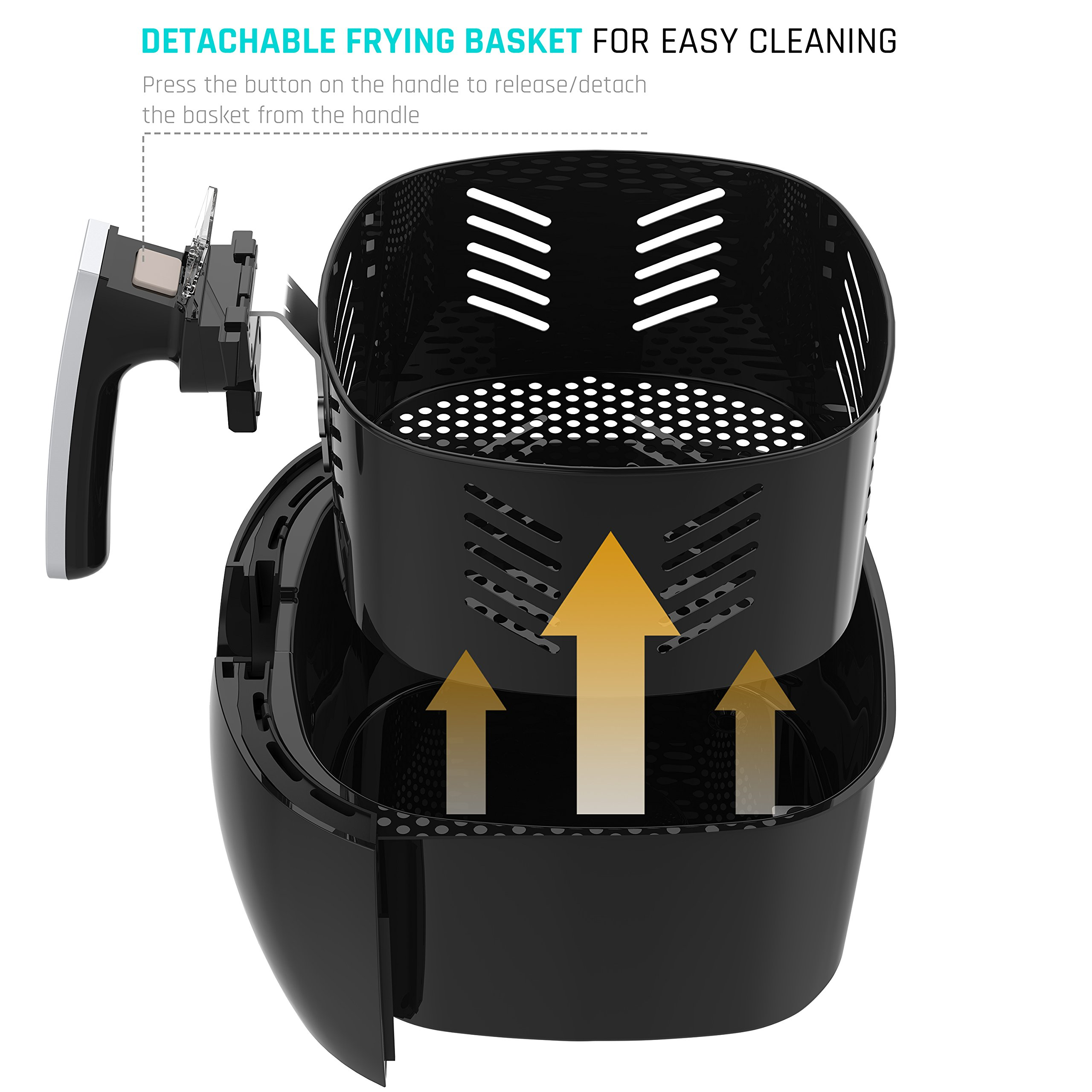 Air FryerLOVSHARE Touch Screen Control Oil Free Electric Air Fryer with Rapid Air Circulation Technology, Digital Display Smart Programs with Automatic and Manual Timer & Temperature Controls,3L by LOVSHARE (Image #4)