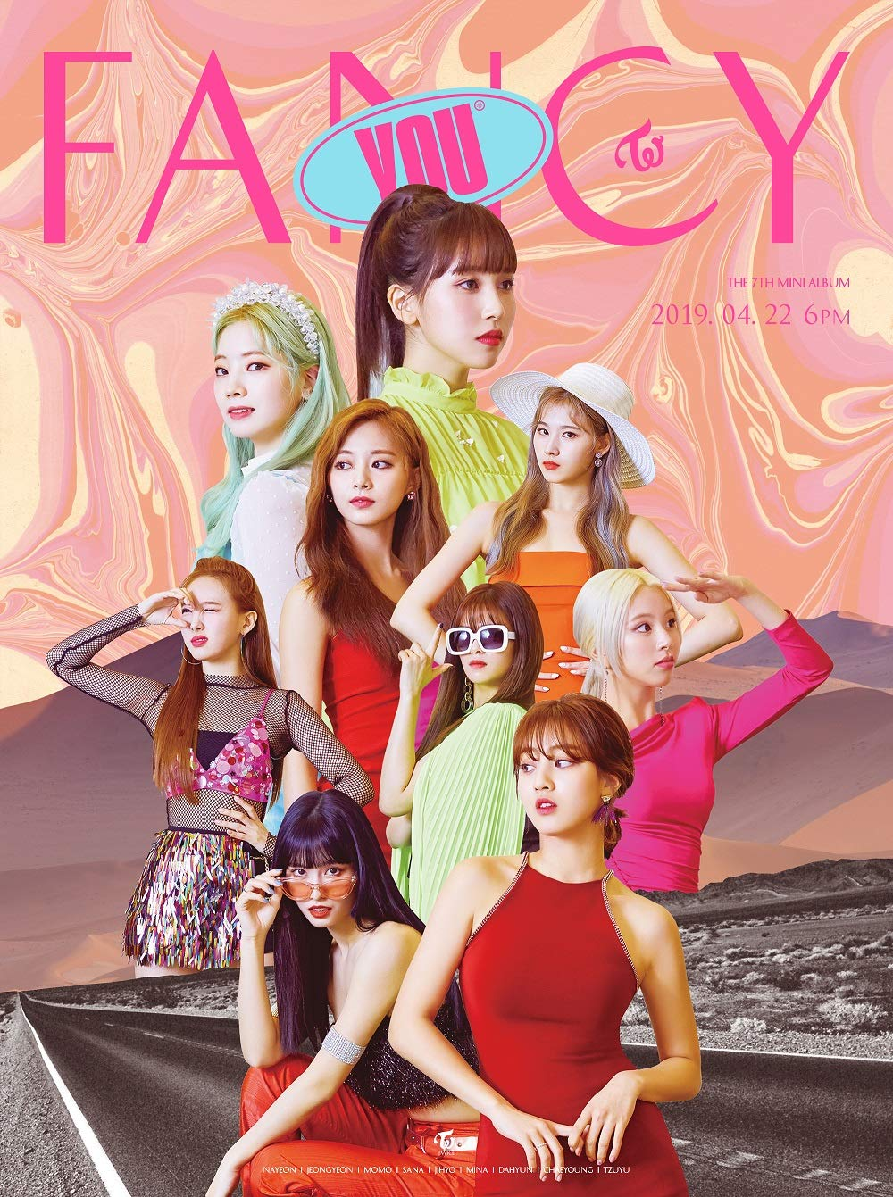 JYP Twice - Fancy You [C ver.] (7th Mini Album) CD+Photobook+5 Photocards+Sticker+Official Folded Poster+Extra Photocard