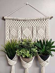 DXYZ 3 Pot Macrame Plant Hanger with Wooden Dowel [Without Pot] | Indoor Outdoor Bohemian Vintage Cotton Rope Planter for Room Balcony Garden Wall| Gift Ideas for Home Decor (Ivory, 1)