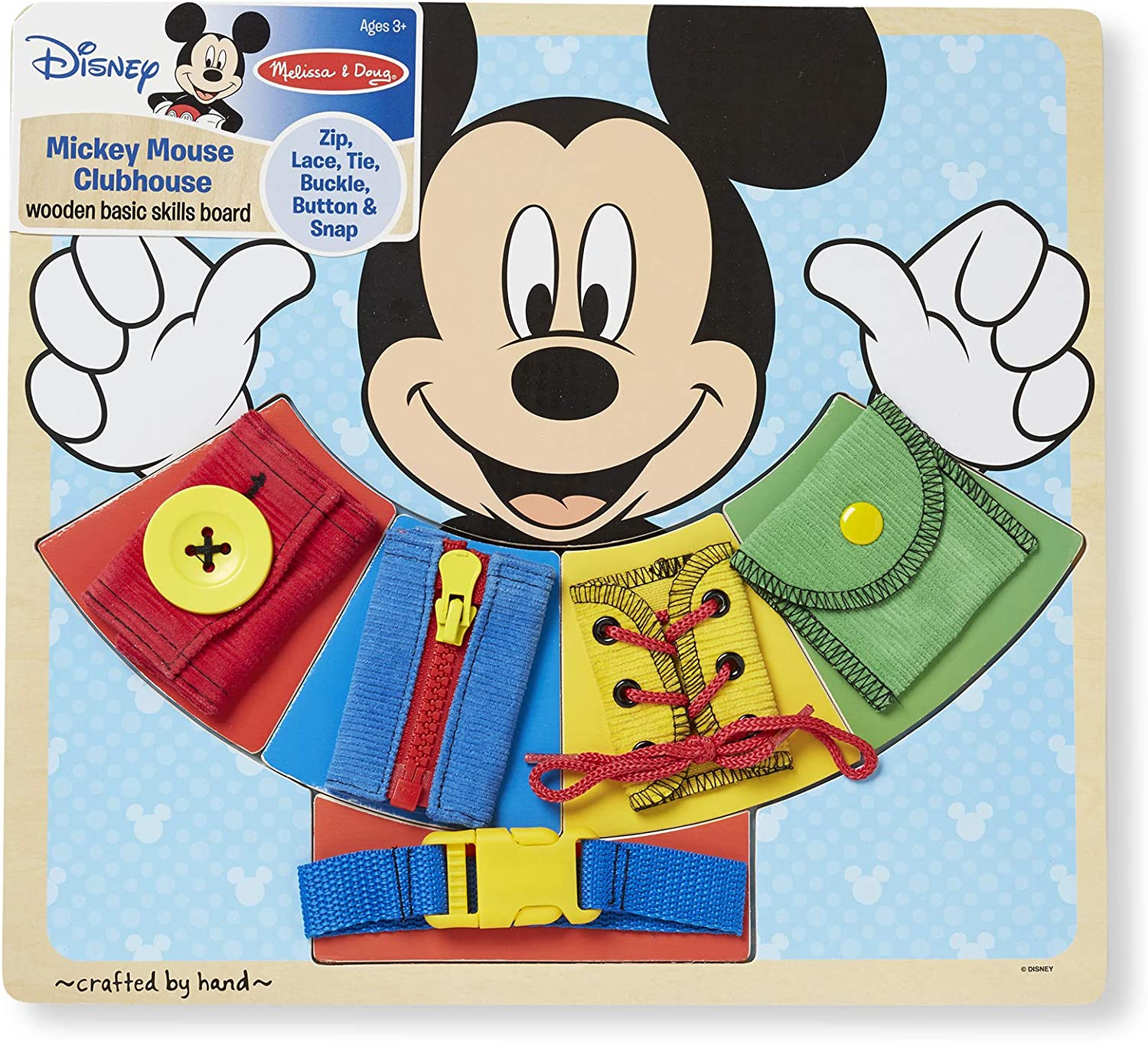 Melissa & Doug Mickey Mouse Wooden Basic Skills Board - Zip, Lace, Tie, Buckle, Button, and Snap