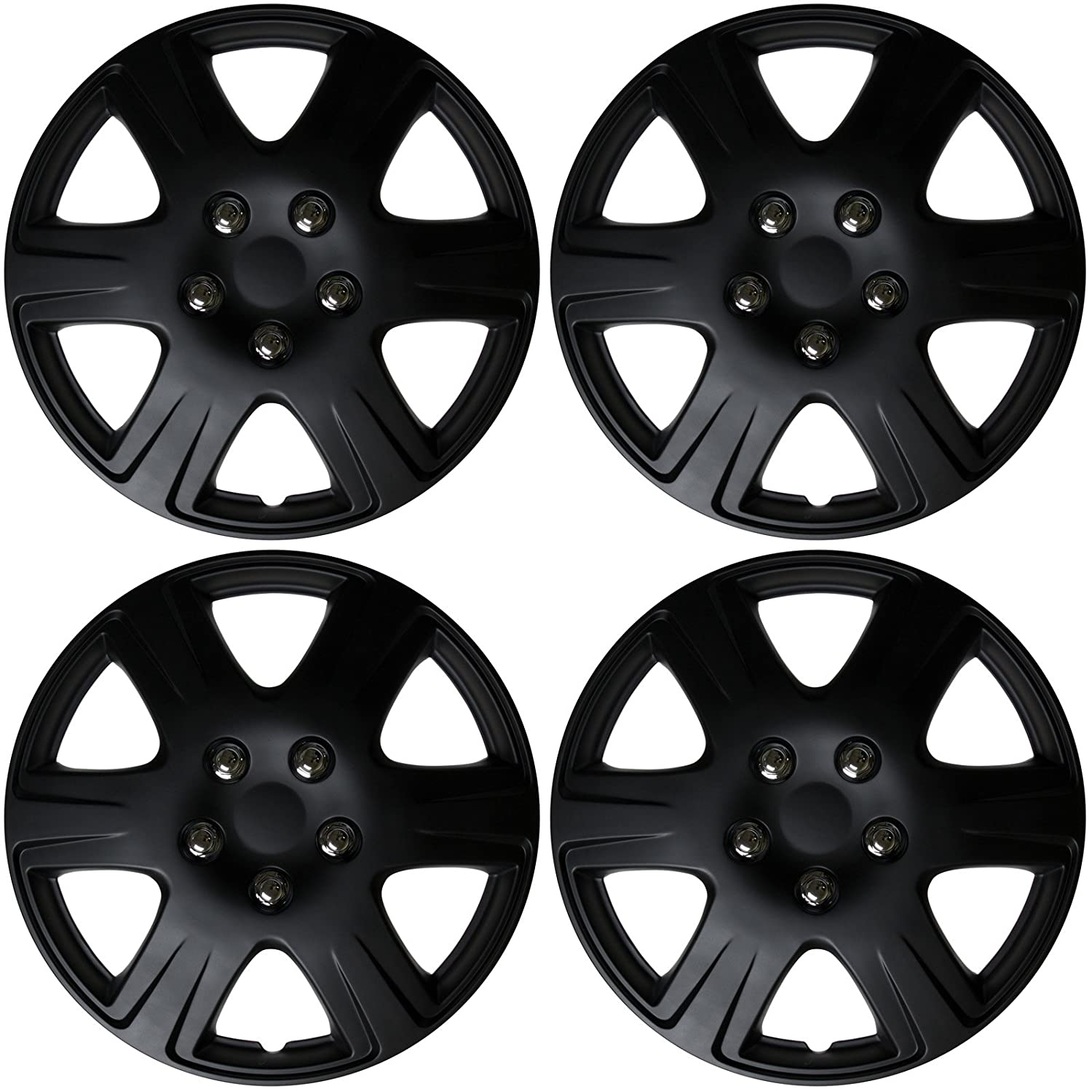 Cover Trend (Set of 4), Universal 15' Black Matte Hub Caps Wheel Covers Universal 15 Black Matte Hub Caps Wheel Covers