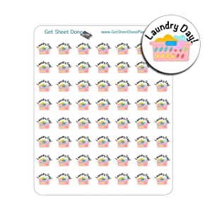 Laundry Day Planner Stickers To Do Reminder for Bullet Journal Hobonichi Planners and Organisers Calendars Life Planner, Happy Planner Filofax Cute Kawaii Chore Stickers ToDo Clear Matte