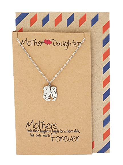 amazon com quan jewelry mother and daughter otter necklace gifts