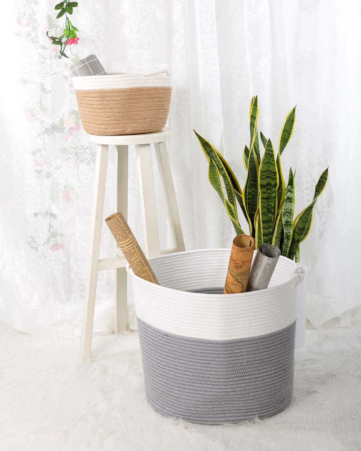 15 /× 15 /× 14.2 Goodpick Cotton Rope Basket with Handle for Baby Laundry Basket Toy Storage Basket Blanket Storage Nursery Basket Soft Storage Bins Natural Woven Basket