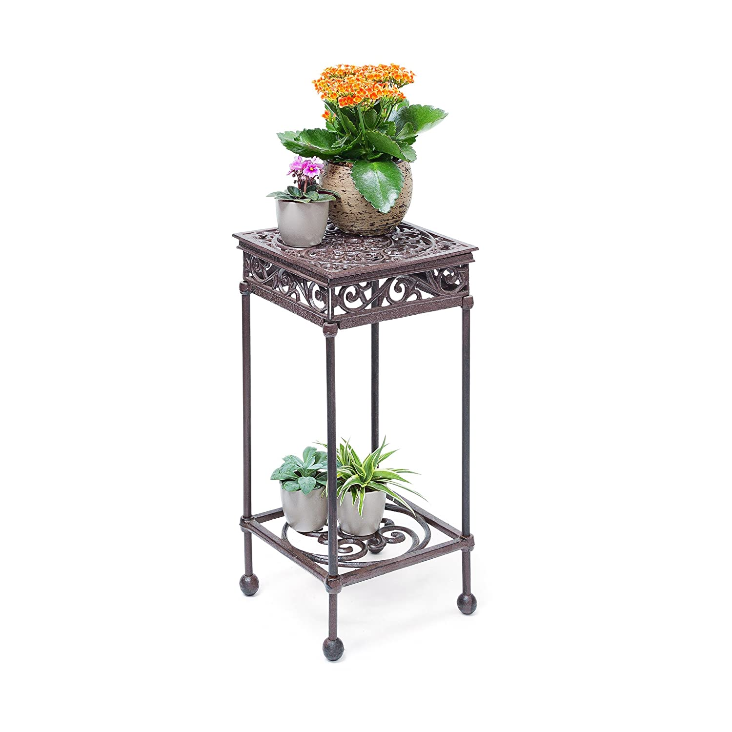 Relaxdays Flower Stand Size M: 50.5 x 24 x 24 cm Square Flower Holder made of Cast Iron, Flower Stand with 2 Shelves for Plants and Decor in the House or Garden, Bronze 10020116_58
