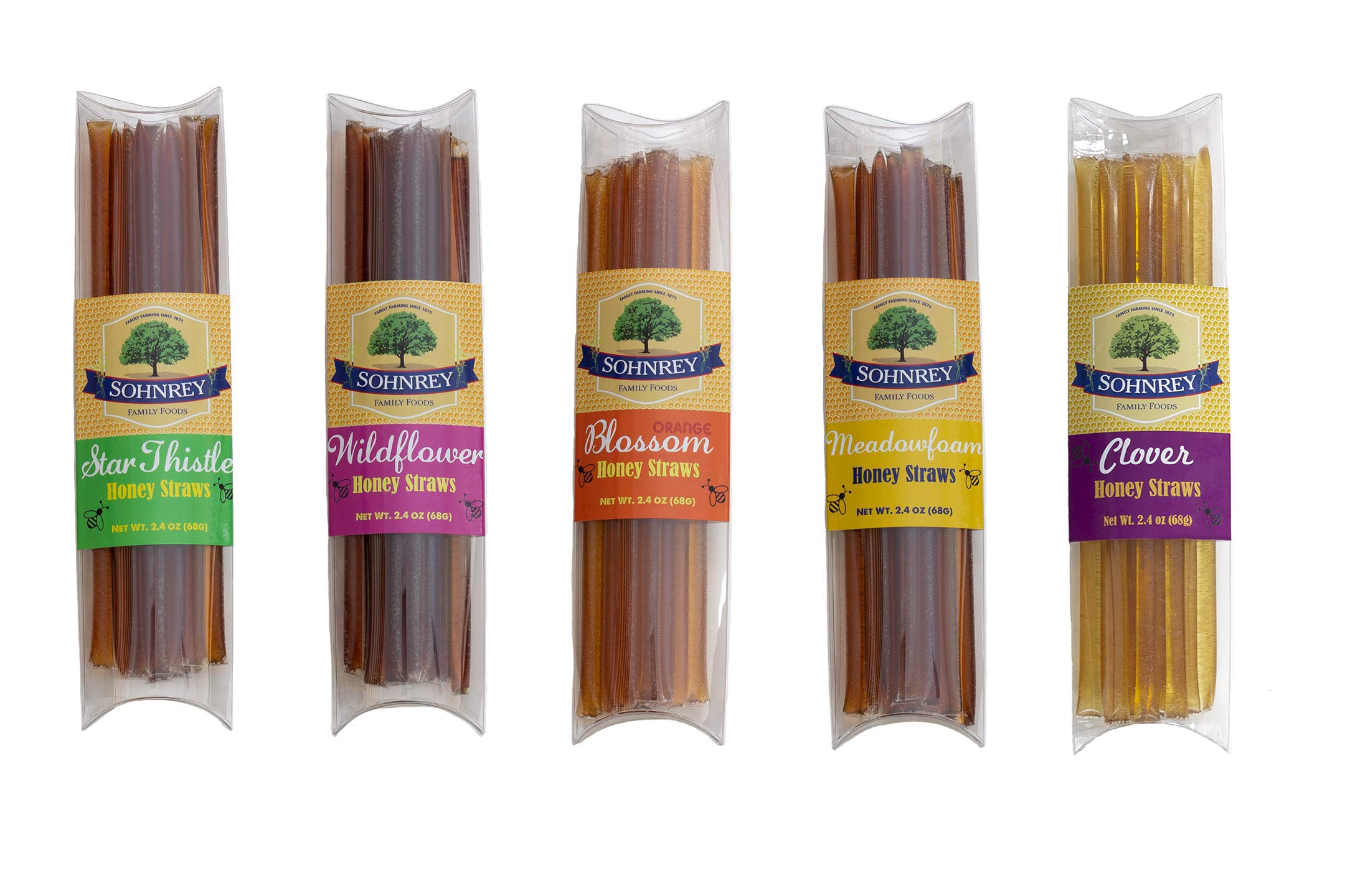 Honey Straws Variety Gift Pack - Five 100% Pure and Natural California Honey Varietals - Sohnrey Family Foods by Sohnrey Family Foods