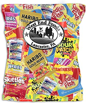 Candy Treats (2 pounds) of Individually Wrapped Candy: Skittles, Starburst, Swedish Fish, Twizzlers, Nerds, Sour Patch Kids
