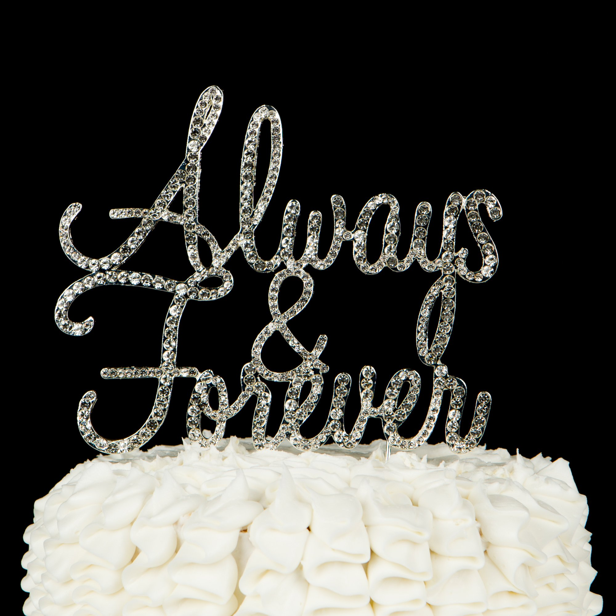 Ella Celebration Always and Forever Wedding Cake Topper, Silver Romantic Rhinestone Decoration (Always & Forever) (Silver) by Ella Celebration (Image #3)