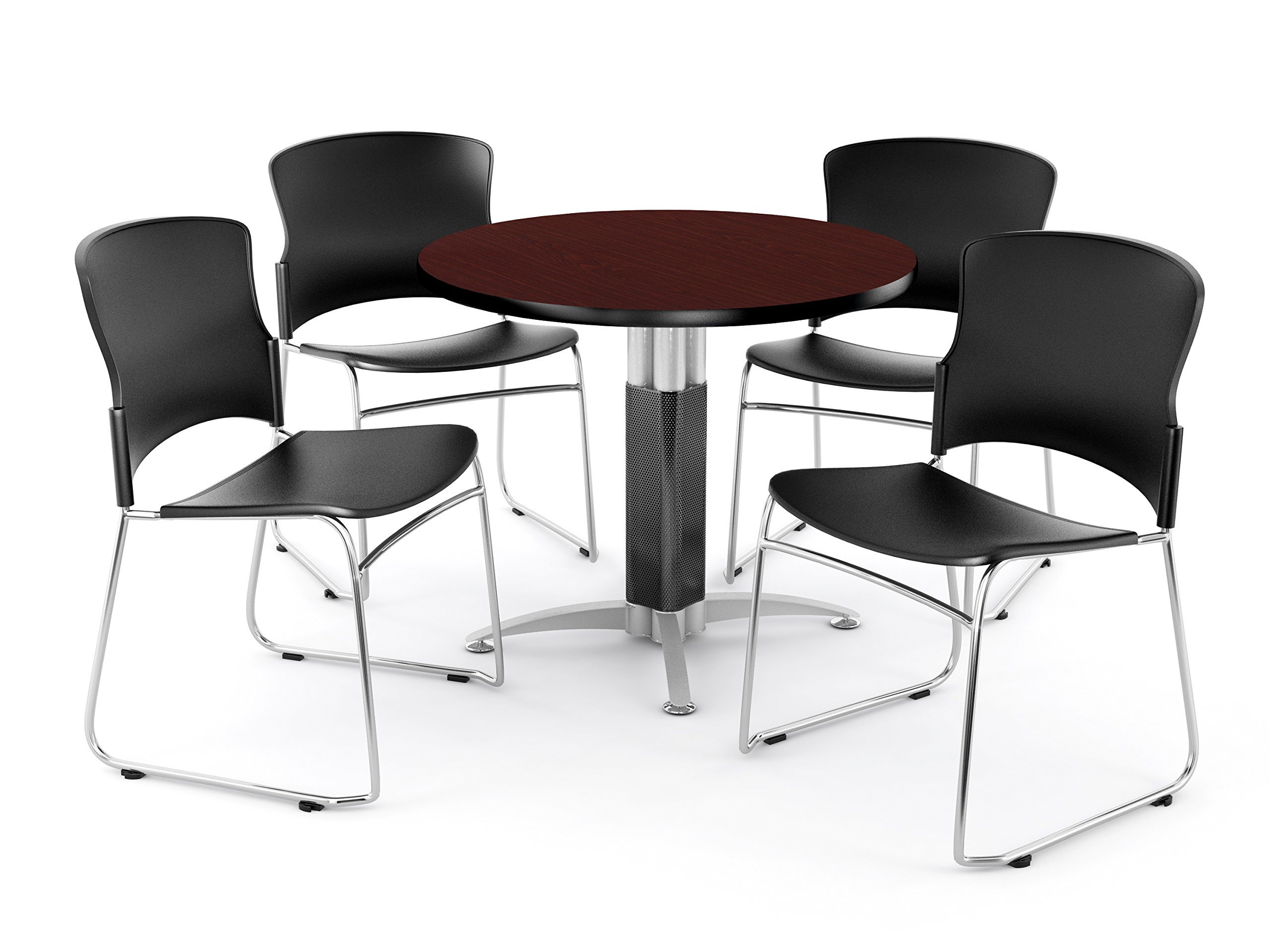OFM Multi-Use Break Room Package, 36'' Round Table with Plastic Stack Chairs, Mahogany Finish with Metal Mesh Base and Black Seats (PKG-BRK-027)