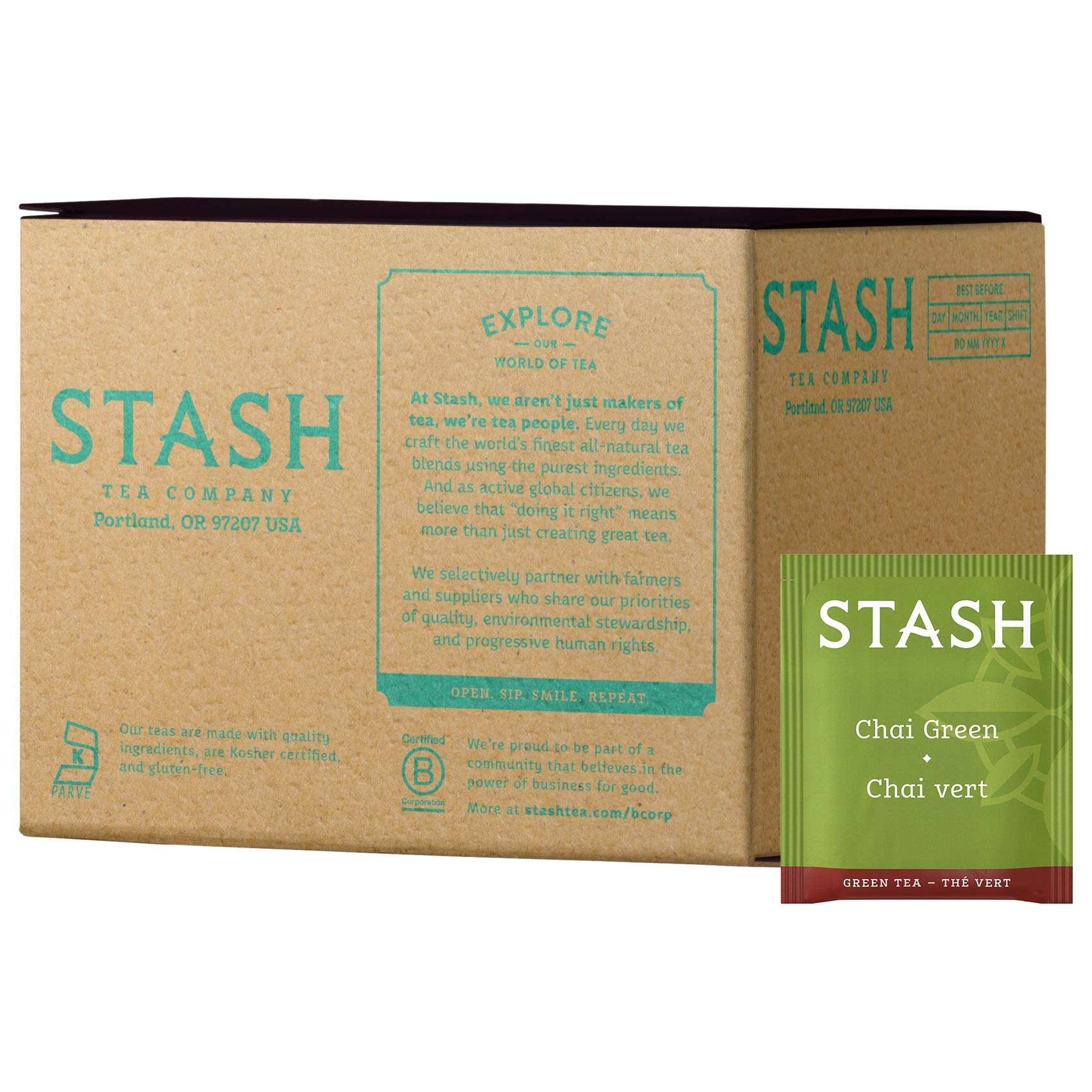 Stash Tea Green Chai Tea 100 Count Tea Bags in Foil (packaging may vary) Individual Spiced Green Tea Bags for Use in Teapots Mugs or Teacups, Brew Hot Tea or Iced Tea, Add Milk for Chai Latte by Stash