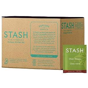 Stash Tea Green Chai Tea, Box of 100 Tea Bags (Packaging May Vary)