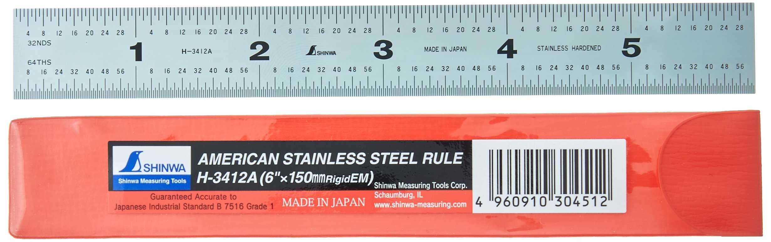 Shinwa H-3412A 6'' 150 mm Rigid English Metric Zero Glare Satin Chrome Stainless Steel E/M Machinist Engineer Ruler/Rule with Graduations in 1/64, 1/32, mm and .5 mm
