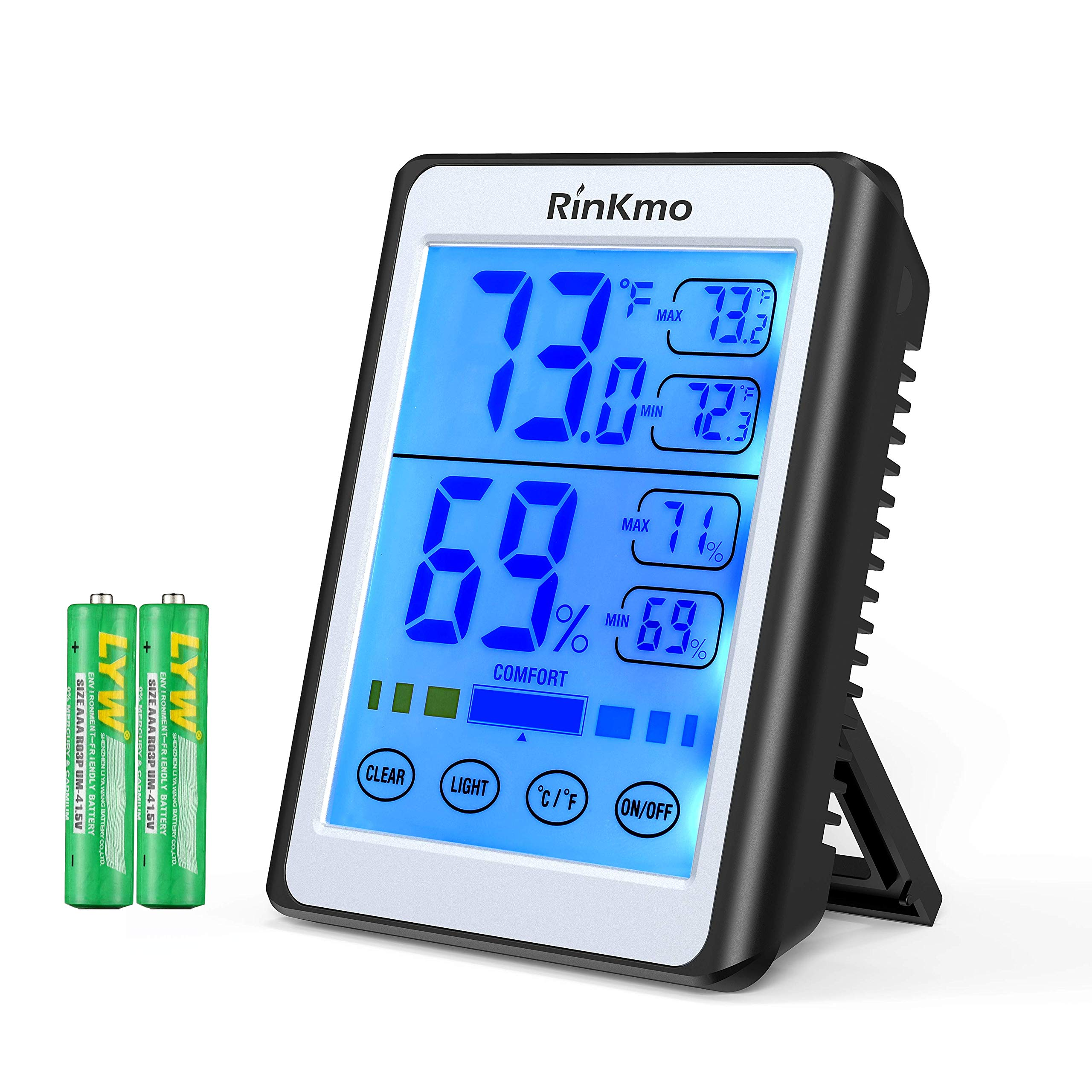 RINKMO Digital Hygrometer Indoor Thermometer Accurate Humidity Guage and Temperature Indicator, Touch LCD Backlight Humidity Monitor, Wall Mount & Desktop Hygrometer