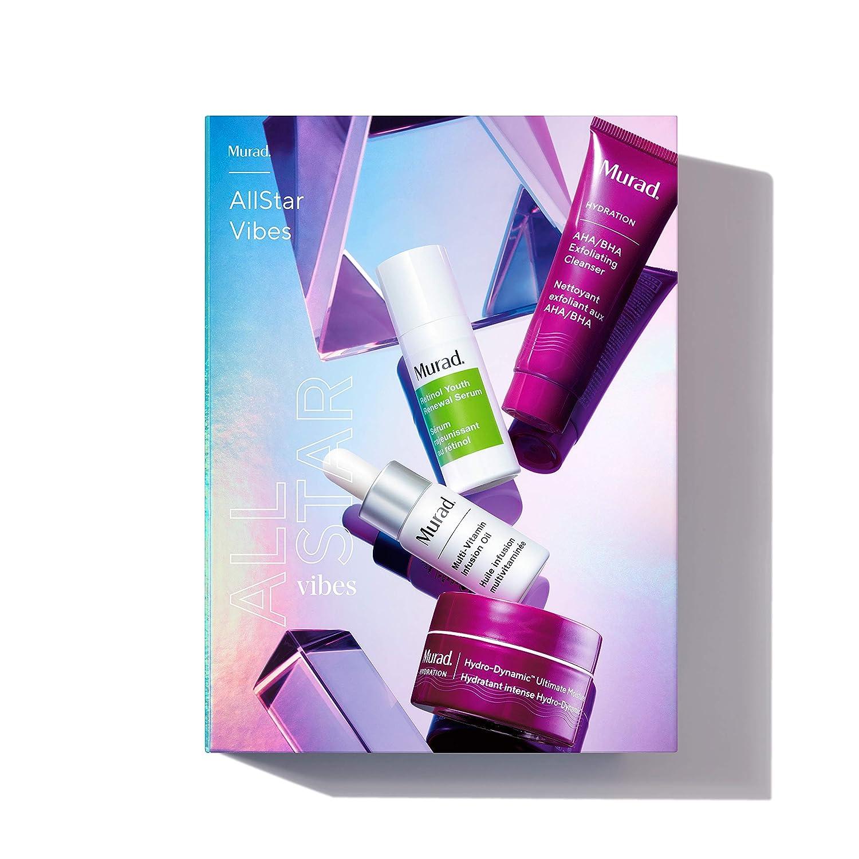 Murad AllStar Vibes | AHA/BHA Exfoliating Cleanser, Retinol Serum, Moisturizer + Treatment Oil | 4-piece set