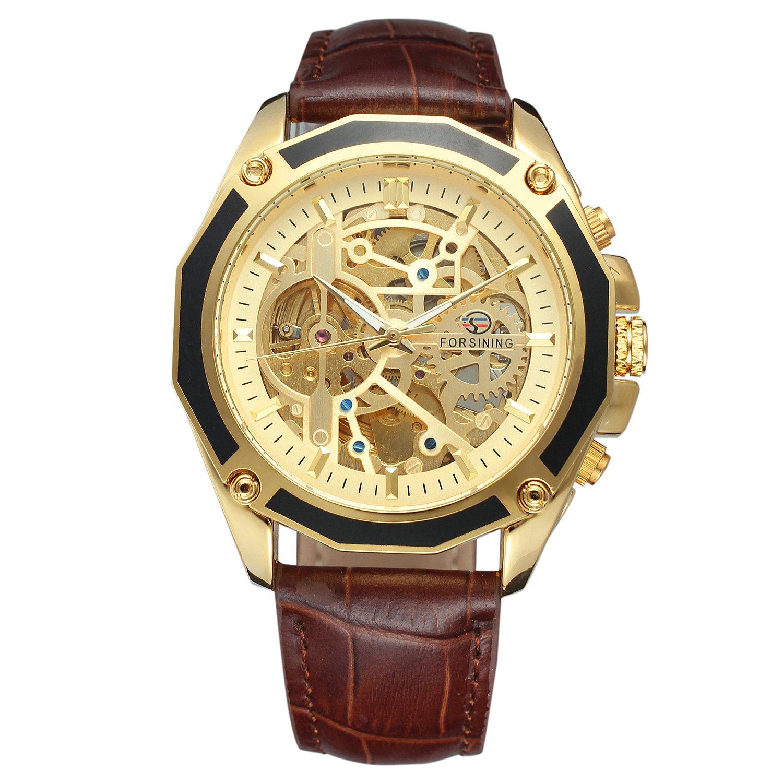 Forsining Hombres de esqueleto reloj mecánico reloj automático movtment macho reloj con correa de piel: Amazon.es: Relojes