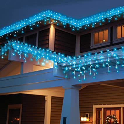 Amazon.com: Holiday Time 300-Count High Density Blue Icicle Lights ...