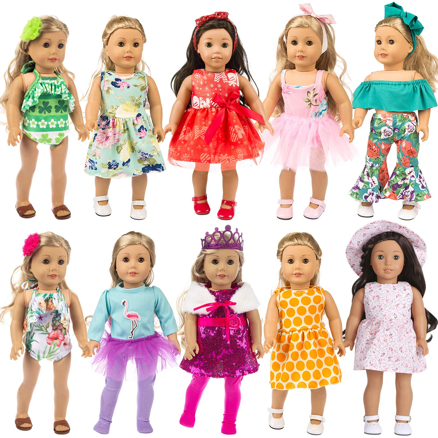ZITA ELEMENT 24 Pcs Girl Doll Clothes Dress for American 18 Inch Doll Clothes and Accessories - Including 10 Complete Set of Clothing Outfits with Hair Bands, Hair Clips, Crown and Cap by ZITA ELEMENT