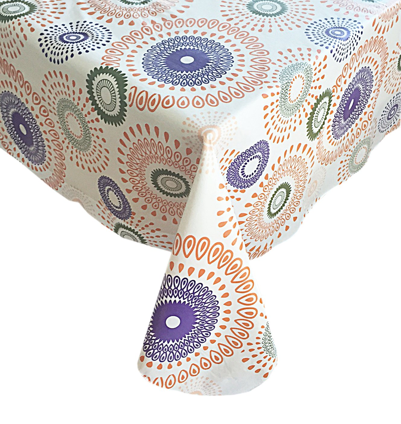 Whimsy Circle Contemporary Print Indoor/Outdoor Vinyl Flannel Backed Tablecloth - 60 x 84 Oval - Warmtone