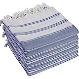 (SET of 6) 100% Turkish Cotton Bath Beach Hammam Towel Peshtemal Throw Foua Blanket Set (Navy)