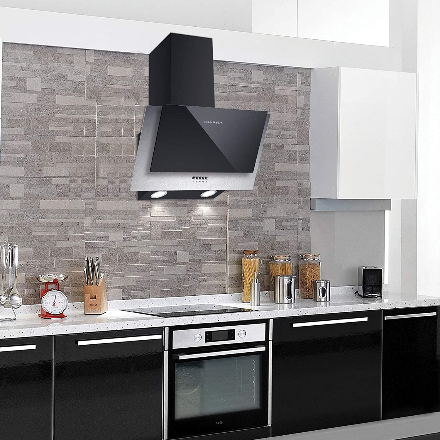 CIARRA Angled Cooker Hood 60cm 380m/³//h 3 Ventilation Speeds LED Lights /& Stainless Steel Tempered Glass Kitchen Chimney Extractor Vent Hoods Black