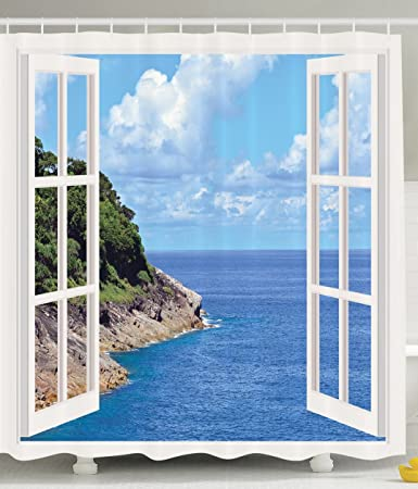 Decor For Bathroom Tropical Island Mountain Ocean Theme Wooden Window  Panorama With Scenic View Shower Curtain