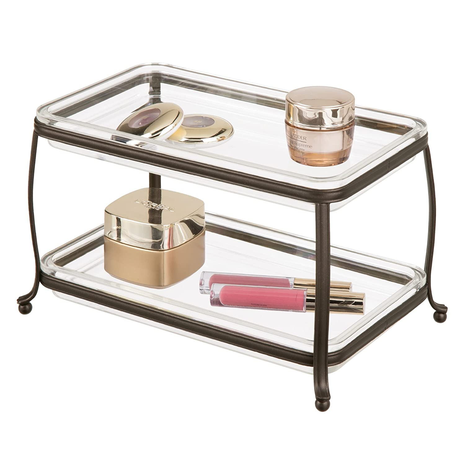 mDesign Traditional Fashion Jewelry Cosmetic Organizer Tray Bathroom Vanity Countertops - 2 Tiers, Bronze/Clear MetroDecor 1524MDC