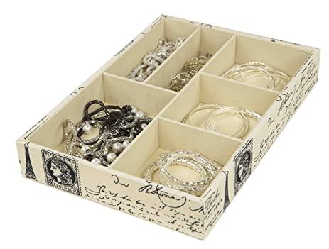 Amazoncom Home Basics Paris Collection Printed Canvas Jewelry