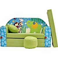 Pro Cosmo Z16Enfants Canapé-lit avec Pouf/Repose-Pieds/Oreiller, Tissu, Vert, 168x 98x 60cm