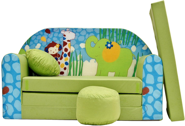 PRO COSMO Z16- Divano letto con pouf/poggiapiedi/cuscino, in tessuto, dimensioni: 168 cmx 98 cmx 60cm, per bambini, colore: verde 5908252477524