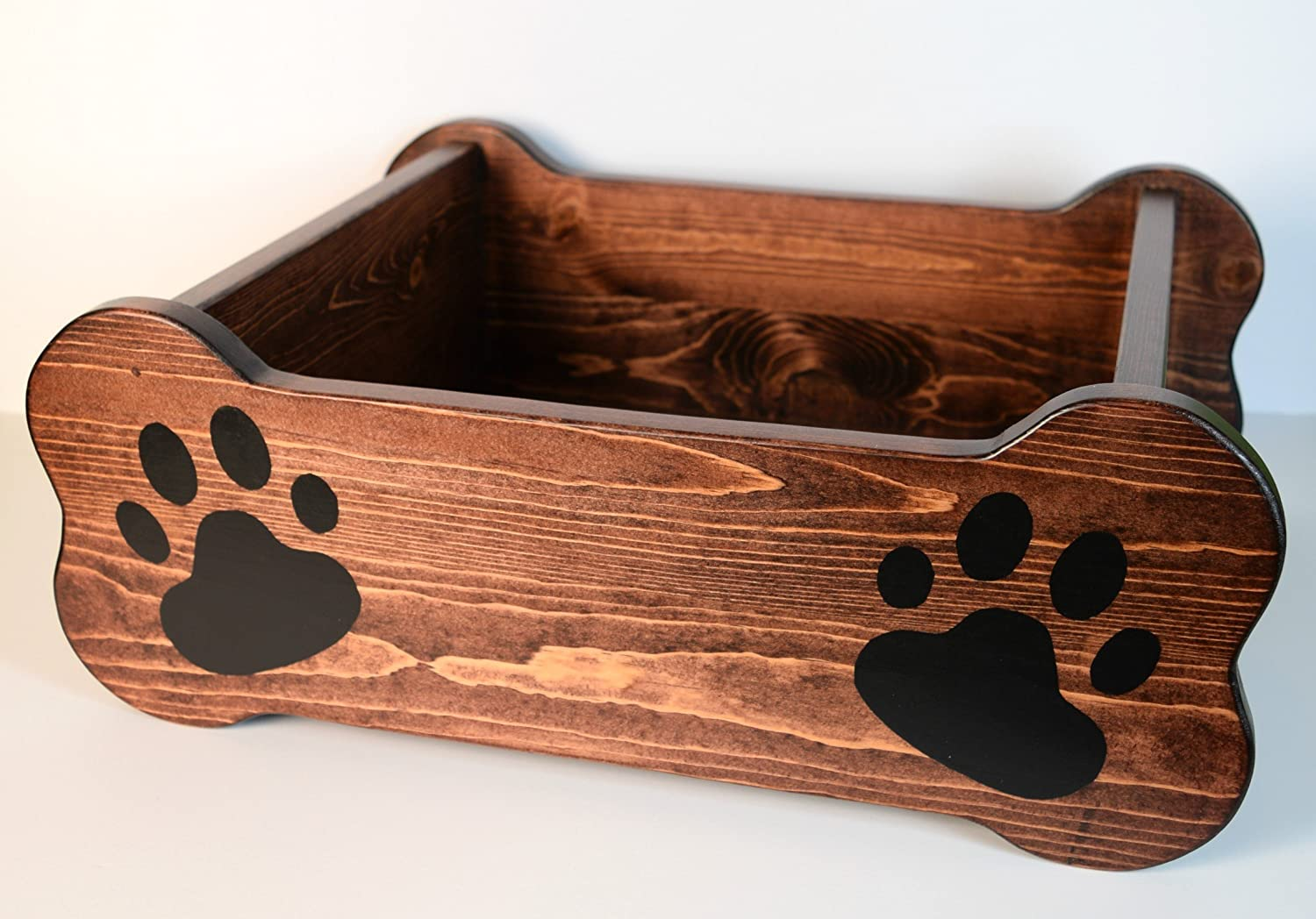 Wood pet toy storage, bone shaped animal bed, puppy kennel, cannine accessory, room decor box, new pet gift, housewarming present, mahogany