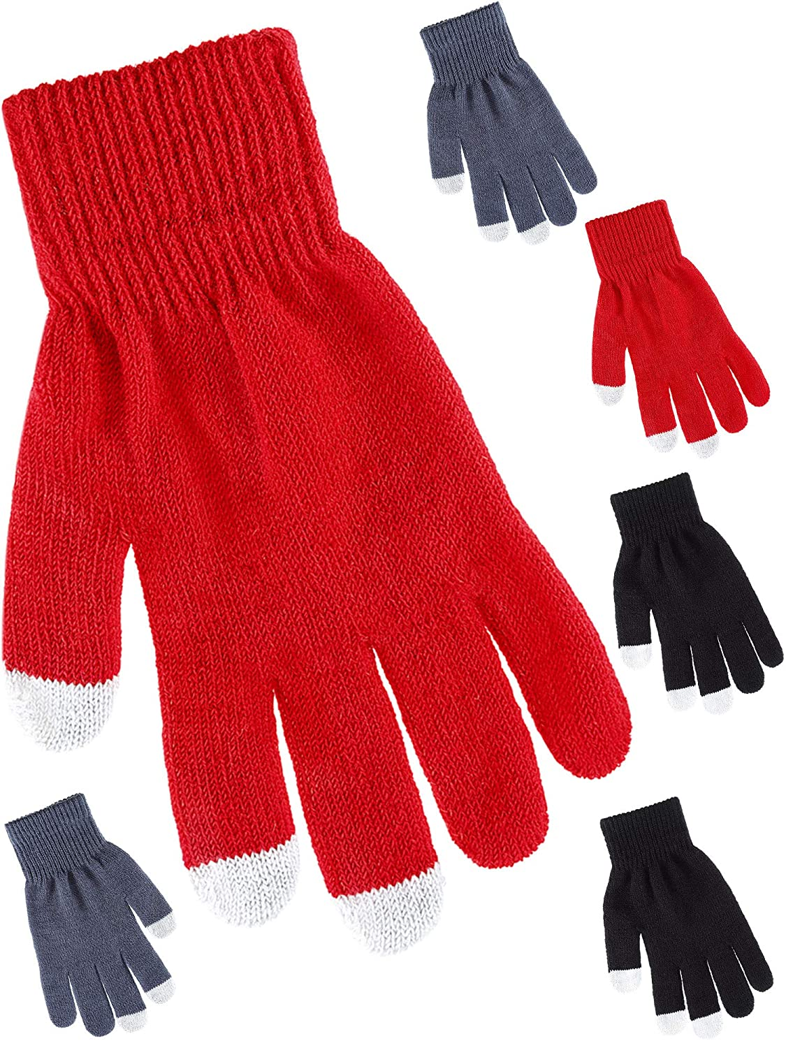 Tatuo 3 Pairs Texting Gloves Touchscreen Gloves Stretch Knitted Mechanic Gloves Winter Warm Gloves