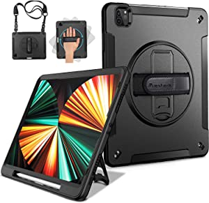 Miesherk iPad Pro 12.9 Case 2021/2020 with Pencil Holder, Case for iPad Pro 12.9 Inch 5th/4th Generation, Military Grade Shockproof Full-Body Protective Cover+Rotating Stand+Hand/Shoulder Strap, Black
