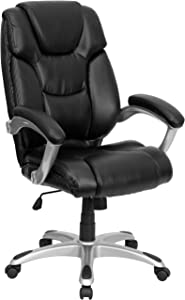 Flash Furniture High Back Black LeatherSoft Layered Upholstered Executive Swivel Ergonomic Office Chair with Silver Nylon Base and Arms
