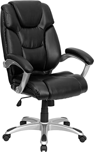 Flash Furniture High Back Black LeatherSoft Layered Upholstered Executive Swivel Ergonomic Office Chair