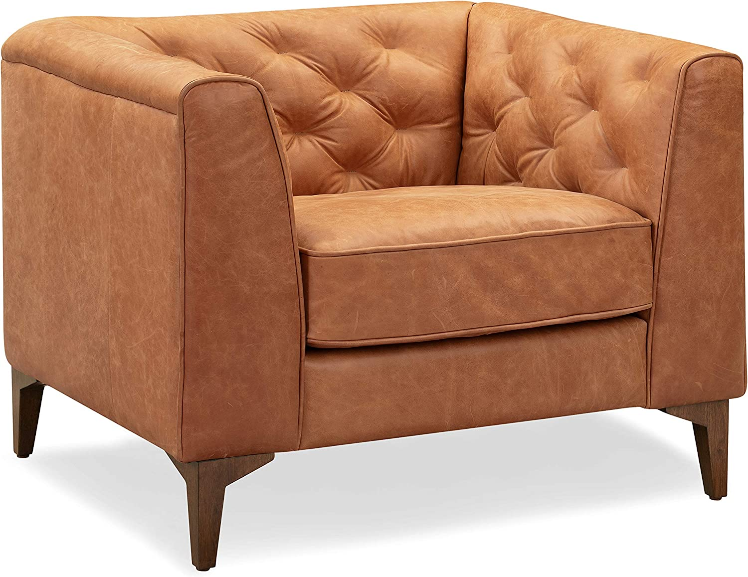 Poly and Bark Essex Lounge Chair in Full-Grain Pure-Aniline Italian Tanned Leather in Cognac Tan