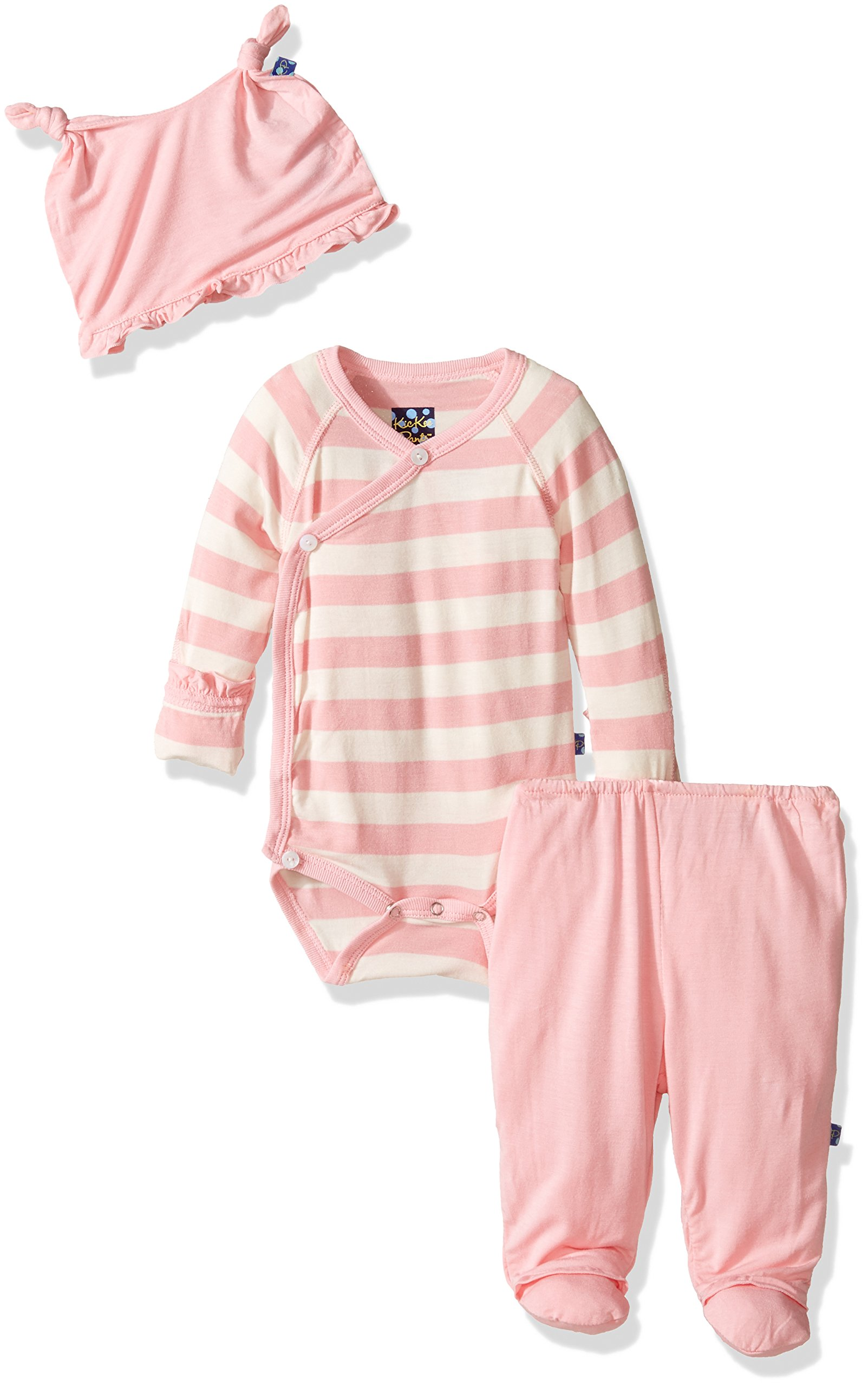 KicKee Pants Essentials Ruffle Kimono Set, Lotus Stripe, Newborn by Kickee Pants
