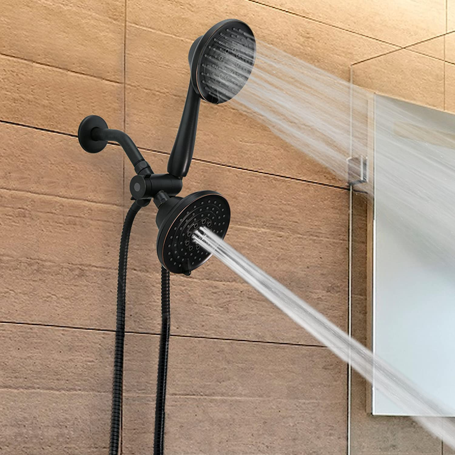 ShowerMaxx | Dual Oil Rubbed Bronze Finish Shower Head Combo with ...