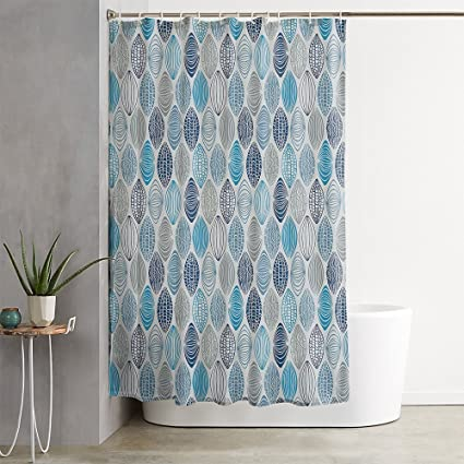 OFloral Grey Blue Ethnic Round Stripes Pale Navy Shower Curtain Decor
